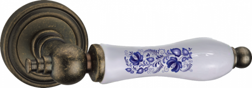 Фурнитура Ручки дверные Renz 265-odincovalam Медея - состаренное серебро+керамика SL/WP-H