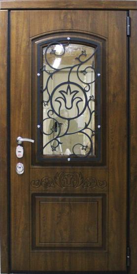 Входные двери Двери Белгородского производства  Фрезеровка по индивидуальному заказу + стеклопакет